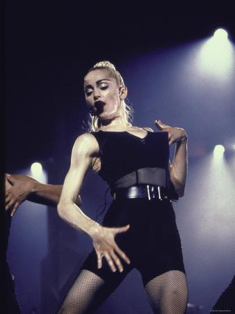 Pop Star Madonna Wearing Skimpy Outfit While Performing Onstage