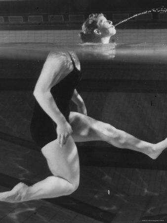 Kathy Flicker Creating an Optical Illusion at the Princeton University's Dillon Gym Pool