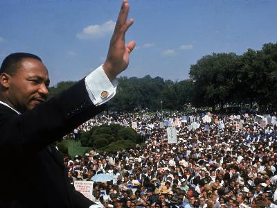 Dr. Martin Luther King Jr. Addressing Crowd of Demonstrators Outside Lincoln Memorial