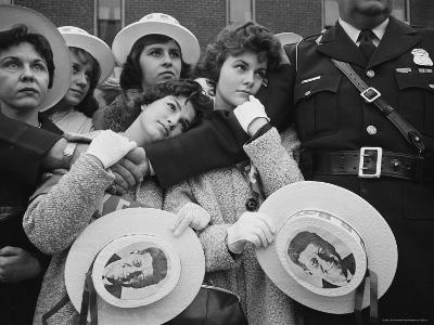 Swooning Female Supporters of Sen. John F. Kennedy Awaiting Arrival for Presidential Campaign