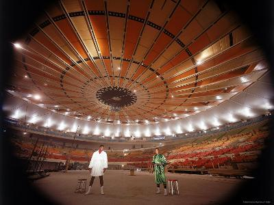 Wide Angle Shot of Interior of New Madison Square Garden with Boxers Buster Mathis and Joe Frazier