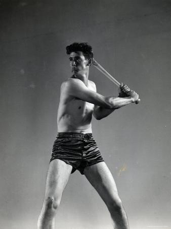 Studio Shot of Boston Red Sox Star Ted Williams Demonstrating His Batting Technique
