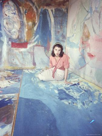 Painter Helen Frankenthaler Sitting Amidst Her Art in Her Studio