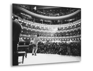 Ray Charles Singing, with Arms Outstretched, During Performance at Carnegie Hall