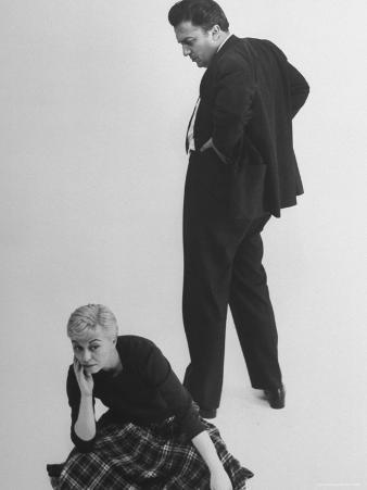 Italian Director Federico Fellini and Actress Wife Giulietta Masina Posing in Studio