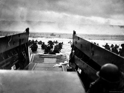 Small Landing Craft with American Soldiers Wading Ashore under Heavy German Fire