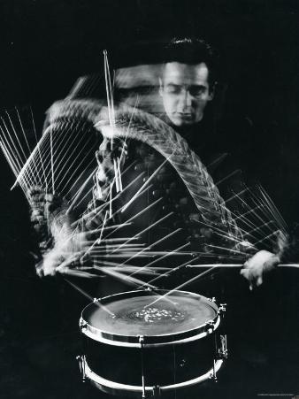 Drummer Gene Krupa Playing Drum at Gjon Mili's Studio