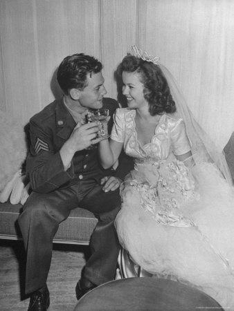Shirley Temple, in a Gorgeous Satin Wedding Dress, with Her Husband