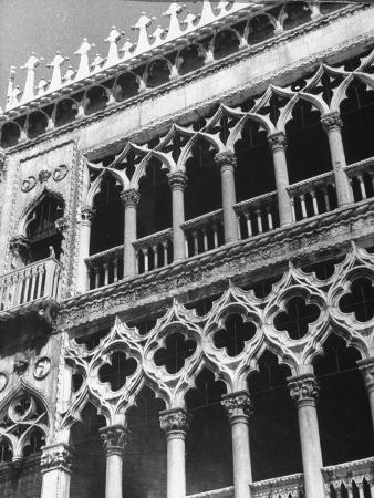 Detail of Building Facade in Venice, Italy