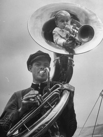Midget Czech Showman Baron Richard Nowak, Blowing on a Trumpet
