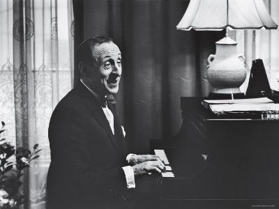 Very Good Portrait of Pianist Vladimir Horowitz Seated at the Piano at His Home in New York