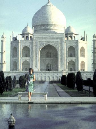First Lady Jackie Kennedy Standing by Reflecting Pool in Front of Taj Mahal During Visit to India