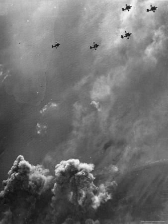 B26 Marauders with Special D Day Markings over Beaches of Cherbourg