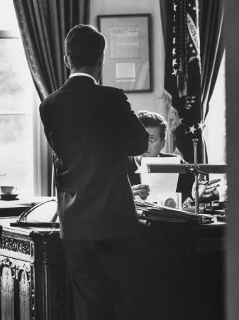 Attorney General Robert Kennedy, Conferring with Brother President John Kennedy at White House