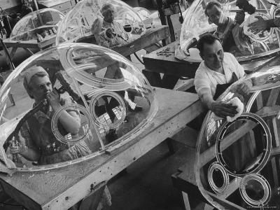 Workers Making Plexiglass Domes for Aircraft in Unidentified Factory