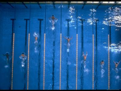 US Athlete Mark Spitz Leads in the 200 Meter Butterfly at the Summer Olympics