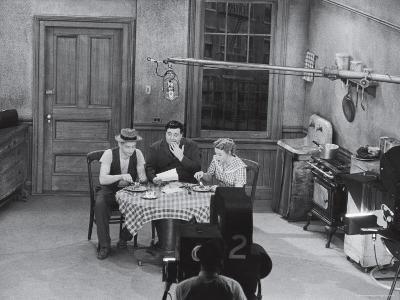 "Jackie Gleason, Art Carney and Audrey Meadows in Cramden Apartment, Eating, on ""The Honeymooners"""