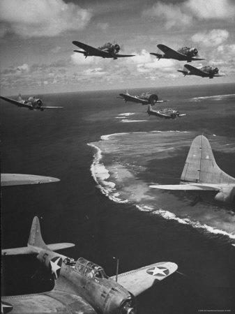 Squadron of US Douglas SBD3 Dive Bombers in Flight, Patrolling Coral Reefs Off Midway Island
