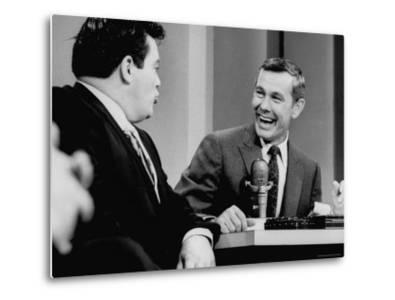 Johnny Carson and Jimmy Breslin Enjoying Conversation During Taping of the Johnny Carson Show