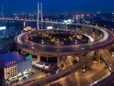 Highway Traffic at Entrance to Nanpu Bridge over Huangpu River, Shanghai, China