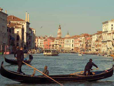 Gondoliers with Passengers in Venetian Canals, Venice, Italy