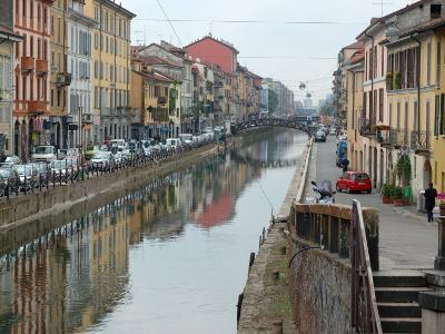 Shops and Restaurants Along Canal, Naviglio Grande, Milan, Italy