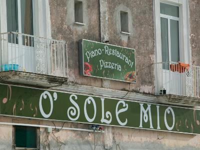 O'Sole Mio Pizzeria Sign, Ischia, Bay of Naples, Campania, Italy