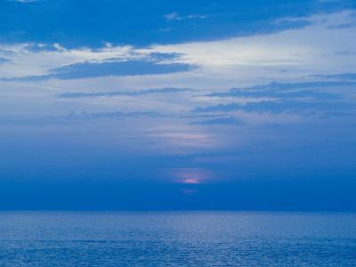 Sunset over the Tyrrhenian Sea, Forio, Ischia, Bay of Naples, Campania, Italy