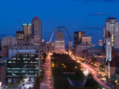Downtown and Gateway Arch at Night, St. Louis, Missouri, USA
