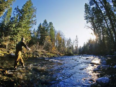 Fly-fishing the Jocko River, Montana, USA