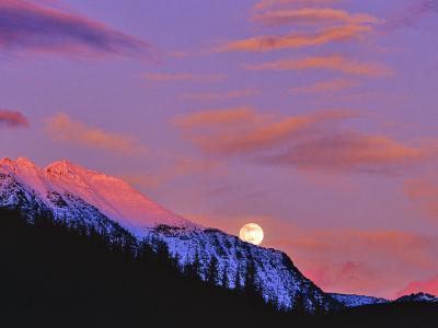 Full Moonrise over Cloudcroft Peaks, Glacier National Park, Montana, USA