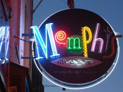 Neon Memphis Sign, Beale Street Entertainment Area, Memphis, Tennessee, USA