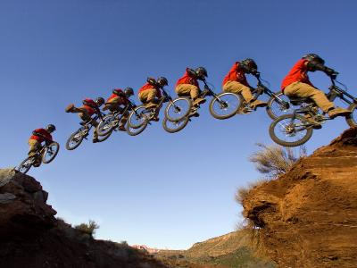 Mountain Biker Catches Air at Rampage Site near Virgin, Utah, USA