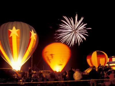 Fireworks During Night Glow Event, 30th Annual Walla Walla Hot Air Balloon Stampede, Washington