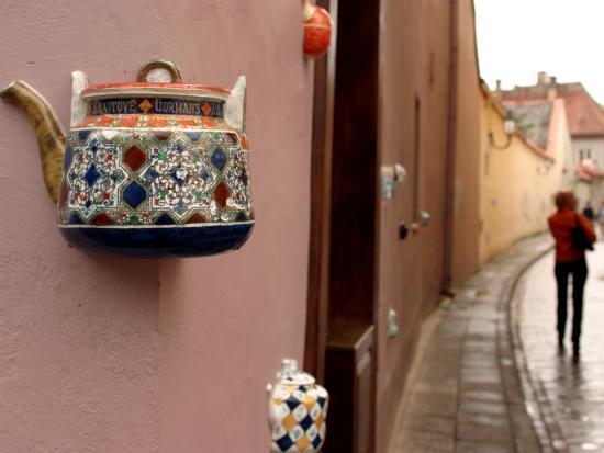 'Teapot Decoration on Wall of Local Tea Shop, Vilnius ...
