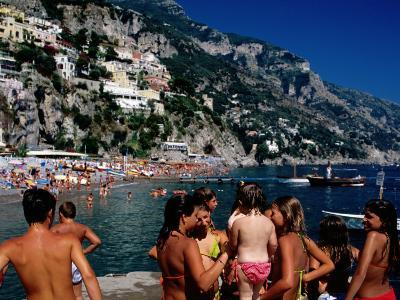 Children at Port, Spiaggia Grande, Positano, Italy