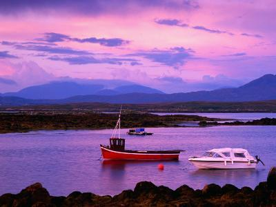 Boats Moored in Inlet, Sunset, Ireland