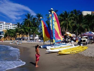 Woman and Yachts on Beach, Westin Regina Resort, Puerto Vallarta, Mexico