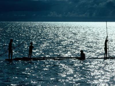 Children Fishing, Koror, Micronesia, Federated States Of