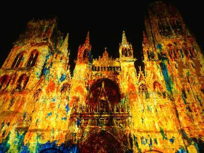 Light Show Projected on Rouen Cathedral, Rouen, France