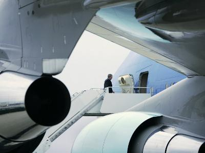 President Bush Boards Air Force One as He Departs Jefferson City