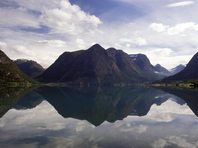 Mountain Reflecting in Fjord Waters, Norway