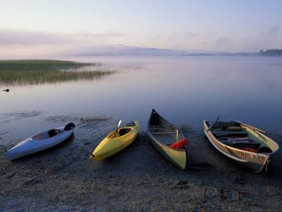 Boats on the Shore of Webb Lake near Mt. Blue State Park, Northern Forest, Maine, USA