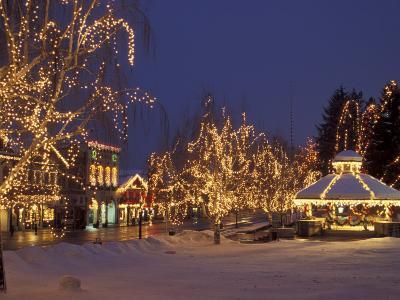 Gazebo and Main Street at Christmas, Leavenworth, Washington, USA