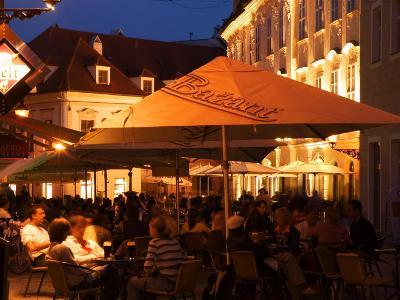 People Sitting Outside Cafes on Venturska, Old Town, Bratislava, Slovakia