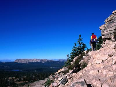 Hiker on Bald Mountain in the High Uinta Wilderness Area, Utah, USA