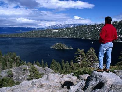 Hiker at Viewpoint Overlooking Emerald Bay, Lake Tahoe, California, USA