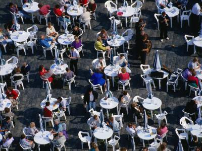Overhead of People Relaxing in Outdoor Cafe, Old Town Square, Prague, Czech Republic