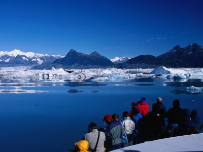 People on Tour Boat Looking Over Columbia Glacier, Prince William Sound, USA