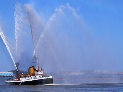 A Fireboat on the Mighty Mississippi River, Louisiana, USA